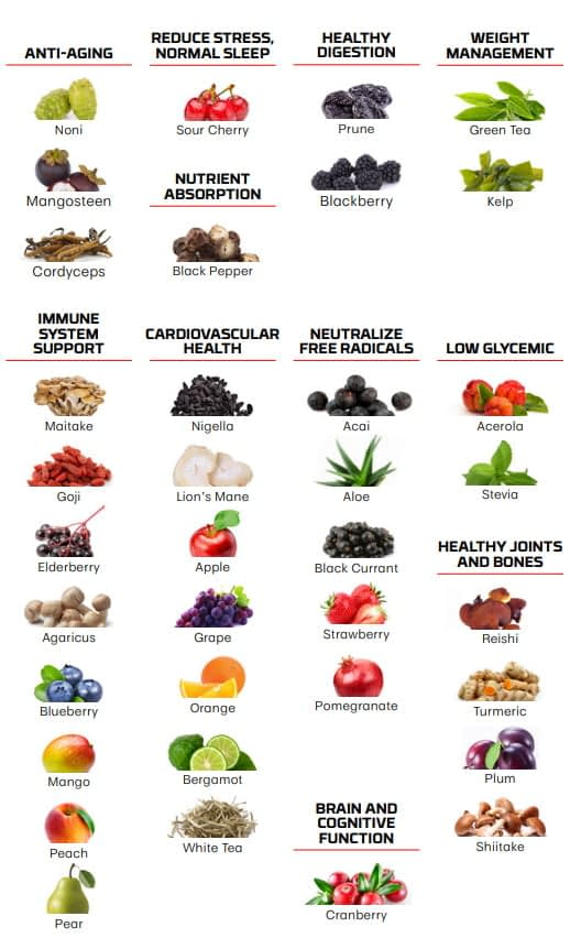 a visual list of all the ingredients in moa supplement by nutrifii ariix