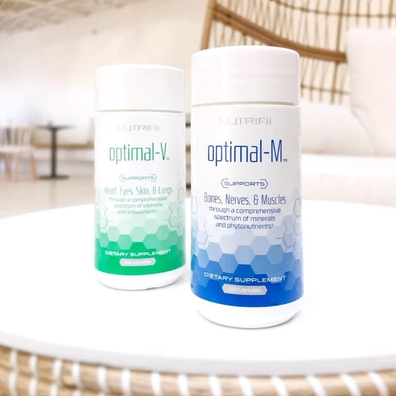 Optimal v and optimal m products sitting together on a counter