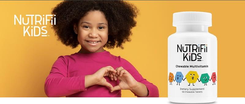 Nutrifii kids multivitamin with kids holding heart shape