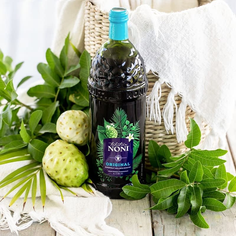 Tahitiam noni juice bottle by noni fruit